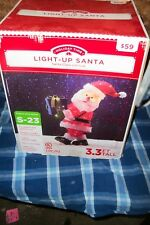 HOLIDAY TIME LIGHT UP SANTA 3.3 FT TALL INDOOR OUTDOOR CHRISTMAS DECOR  NIB