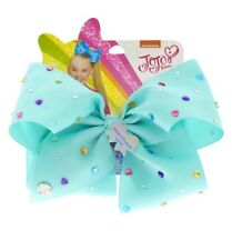 JoJo Siwa Signature Magnificent Mint Bow Mint With Heart Gems Hair Bow NWT