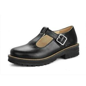 Women Pump Shoes Mary Jane Lolita Comfort Buckle T-strap Platform Retro British