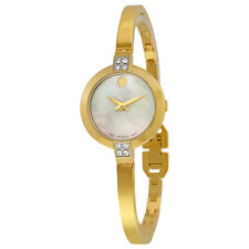 Movado Yellow Gold PVD Stainless Steel Case Set with 8 Di Ladies Watch 0607000