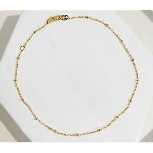 14K Gold Plated Silver Beaded Ball Satellite Chain Necklace, 16 inch 20 inch