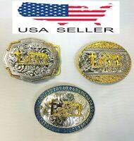NEW Western Cowboy Round & Angular Gold/Metal Praying Cowboy Heavy Belt Buckle