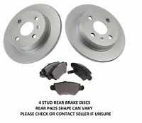 FOR VAUXHALL ASTRA G MK4 1.4 ,1.6, 1.7, 1.8 2.0 4 STUD REAR BRAKE DISCS AND PADS