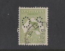 1917 Australia Roo 3d olive green third wmk OS perfin SG O 45 die I fine used