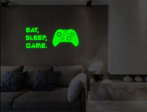 Luminous Eat Sleep Game Controller Wall Stickers Kids Bedroom Decals UK 50ii