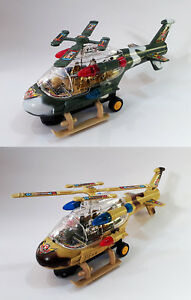 Kids Battery Operated Helicopter Lights Sound Gunship Bump'n go Toy Gift UK