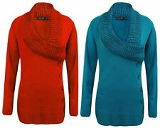 NEW LADIES WOMENS KNITTED LONG SLEEVES V NECK BUTTON DRESS TOP LONG JUMPER 8-16