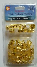 Dreadlock Beads Adjustable Hair Braid Filigree Tube Value Gold 10mm Pack