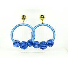 KATE SPADE $78 Gold Plated Blue Beaded Dangle Hoop Earrings