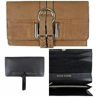 NEW RIVER ISLAND PURSE WALLET 100% LEATHER (OUTER) BLACK TAN XMAS PRESENT