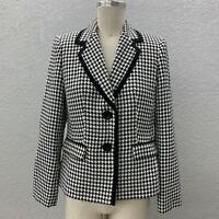 Kasper Blazer Jacket Women's 6P Black White Houndstooth Two Button Long Sleeve