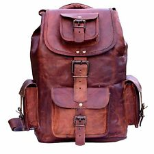 "18"" New Large Genuine Leather Backpack Rucksack Travel Bag For Men's and Women's"