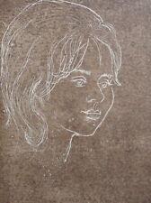 Vintage impressionist portrait girl signed