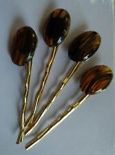 Glass Oval Brown and Black Gold Plated Bobby Pins Set Of 4 Handmade