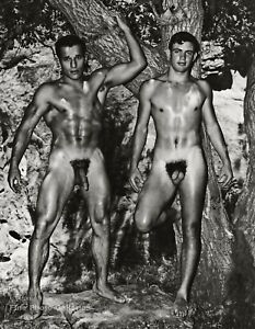1955 BRUCE BELLAS Of Los Angeles Nude Male Outdoor Buddies Photo Engraving 11X14