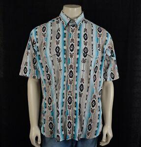 Panhandle Slim Short Sleeve Aztec Western Shirt Mens XL Pearl Snaps Southwest