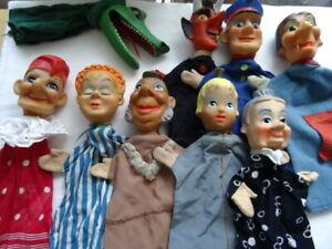 Konvolut mit 9 Kasperle Figuren 60-er Jahre