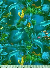 Fabric #2317 Dolphins Coral Reefs Sea Turtles Fish Eliz Studio Sold by 1/2 Yard