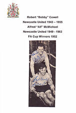 Bobby Cowell Alf McMichael Newcastle United 1952 Fa Cup Raro Orig Firmada A Mano