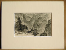 ENTRANCE TO YOSEMITE VALLEY USA ANTIQUE MOUNTED ENGRAVING FROM 1876 PUBLICATION