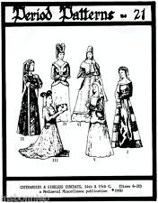 Ladies Renaissance Cotehardies & Sideless Surcoats Period Patterns 21 SCA  6-20