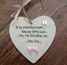 Shabby personalised Gift Chic Heart Plaque Godmother Christening Present Gift.