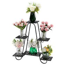 New listing Lacquered 4-Layer 6-Seat Potted Plant Stand Patterned 31-inch High Arched Black