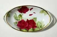 "Rosenthal Donatello Hand painted Bold Roses Floral 12"" Gold Trim Oval Bowl"