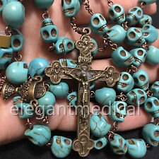Catholic Vintage XL 10MM Turquoise skull beads Rosary Cross crucifix Necklace