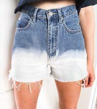 Urban Renewal Vintage Dip Dye Bleach Denim Shorts Frayed Hem W24