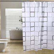 Bathroom 180 x 200cm PEVA Waterproof Shower Curtain Square + 12 Hooks Kit