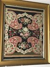 """Antique 1820's German Paisley Needlework  Framed Behind Glass 23"""" x 19"""" Overall"""