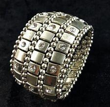 3 Row Rhinestones Crystal Diamante Bracelet Wide Stretch Cuff Bangle