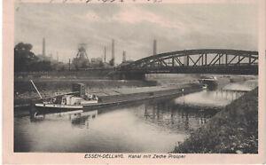 Alte Ansichtskarte Essen - Dellwig - Kanal mit Zeche Prosper - gelaufen 1921
