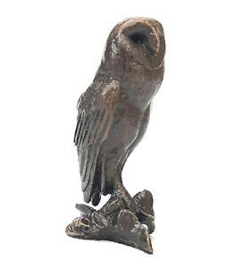 Bird Bronze Miniature Sculpture - Barn Owl - Butler & Peach 2083