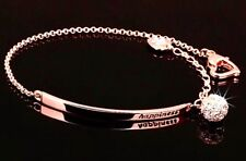 ELEGANT ROSE GOLD CRYSTAL HEART CHARM EXTENDER HAPPINESS BRACELET [FREE UK P&P]