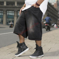Men Oversize Denim Trousers Jeans Hip Hop Wide Leg Pants Large Size Shorts 30-46