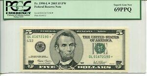 FR 1990-L* STAR 2003 $5 FEDERAL RESERVE NOTE 69 PPQ SUPERB GEM NEW