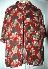 Men's Puritan Aloha Hawaiian Tropical Leaf Print Red Rayon Shirt XL 46-48 Button