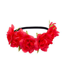 Large Rose Flower Hair band Crown Festival Headbands Garland for Women Girls
