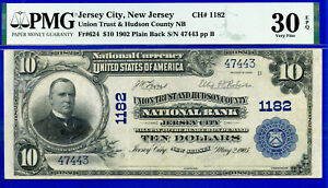 TOP POP 1/0 CH# 1182 - 1902 $10 P/B ((Finest Known - Jersey City, NJ)) PMG 30EPQ