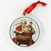 25 Christmas Ornament Round Santa Reading Letters Norman Rockwell JcPenney 1996