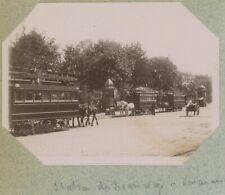 Station de tramways hippomobiles à Vincennes. Chemin de fer. Tirage citrate 1896