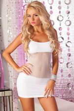 Sexy Dancer Stripper Raver Wear White Fishnet Panel Clubwear Mini Dress PL-25016