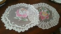 Lace table runner 2 pc set country style 12 inch round flower NEW