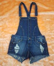 NWT $32.90 BLUE ASPHALT Sz S Denim Distressed Romper Jeans Shorts