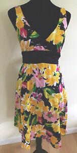 B SMART Women's A-LINE DRESS Size 10 Black Yellow Pink Floral Sleeveless V-Neck