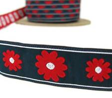 "3 Yd Red Daisy Flowers Blue Woven Jacquard Ribbon Trim 1""W"