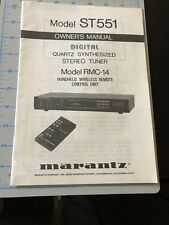 Marantz ST551 Tuner RMC-14 Remote Owners Instruction Manual