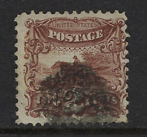 UNITED STATES OF AMERICA:1868 2c deep brown with grill  Scott #113 used